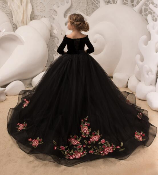Black velvet princess pageant dress off the shoulder with sleeves embroidery detachable long train girl party celebration gown black off shoulder long sleeves crop top