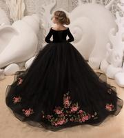 Black velvet princess pageant dress off the shoulder with sleeves embroidery detachable long train girl party celebration gown