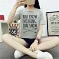 2017 Mulheres do Verão T-shirt Que Você Não Sabe Nada Jon Snow Impresso Letra camiseta Jogos De Tronos Mulheres Camiseta Camisetas Mujer Plus