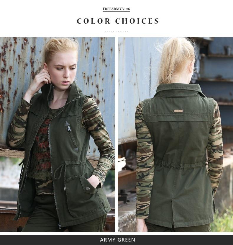 colete casaco exército verde drawstring coletes jaqueta