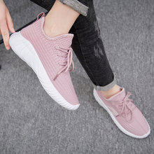 2019 Summer Flying Weaving Pink Black Women Sneakers Ventilated Soft Off White Tenis Trainer Casual Shoes M108
