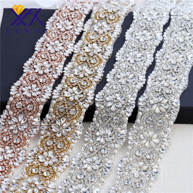 XINFANGXIU 1 yard Hot Rhinestone patches stone diy crystal applique sew on  belts for dresses wedding dress 4784d1e06af8
