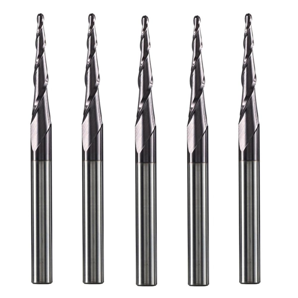 5 tk / part Volfram tahke karbiid, 1/4-tolline 6,35 mm, koonusprofiiliga CNC-freesiga ruuteriotsad puidule ja metallilõikurid