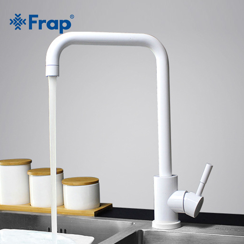 Frap Kitchen Faucet 360 Rotate White Mixer Faucet for Kitchen 304 Stainless Steel Hot Cold Deck