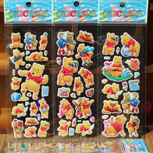 HOT 12 sheets/lot Winnie Pooh sticker 3D Baby Bear cartoon s anime decals  stickers for kids gift puffy reward rooms decoration