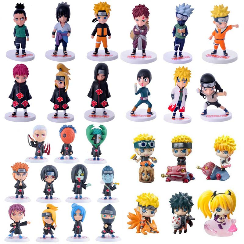 Anime Naruto PVC Action Figure Toys Q Version Naruto Figurine Full Set Model Collection Free Shipping 6pcs lot 7cm naruto action figure set q edition toy naruto japan anime figures model toy set action toys