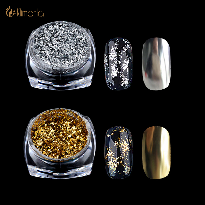 Guld Silver Glitter Aluminium Flakes Magic Mirror Effekt Holografiska Glitter Pulver Sequins Gel Polsk Chrome Pigment Decoration