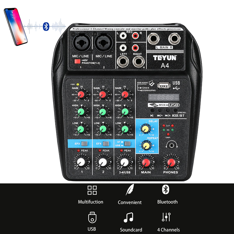 A4 Sound Mixing Console with Bluetooth Record Mini Audio Mixer with USB Professional 4 Channels DJ