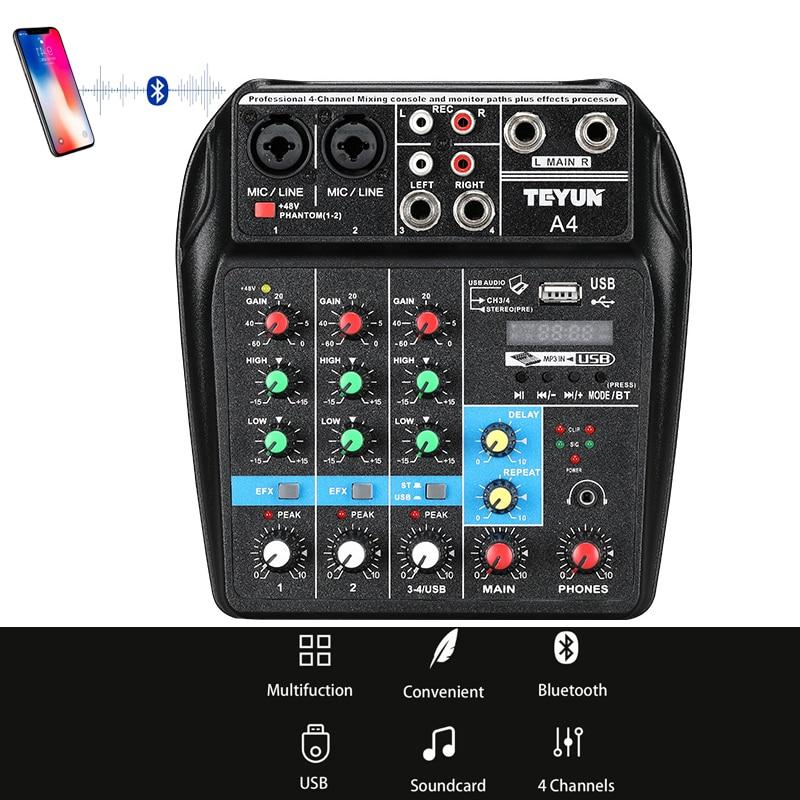 A4 Son Console De Mixage avec Bluetooth Record Mini Mélangeur Audio avec USB Professionnel 4 Canaux DJ Karaoké KTV Réunion