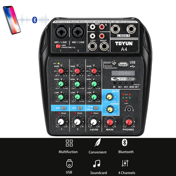 цена на A4 Sound Mixing Console with Bluetooth Record Mini Audio Mixer with USB Professional 4 Channels DJ Karaoke KTV Meeting