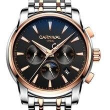 Carnival multifuncional dial pulseira de aço dos homens de negócios relógio mecânico automático relógio de pulso-moldura de ouro mostrador preto