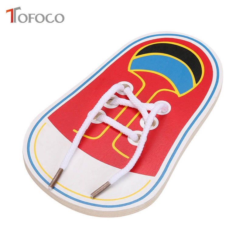 TOFOCO 1 Pc Wooden Wear Shoelace Tied Shoelaces Children Kindergarten Early Educational Toy Tie Wear Rope Toys For Baby Learning