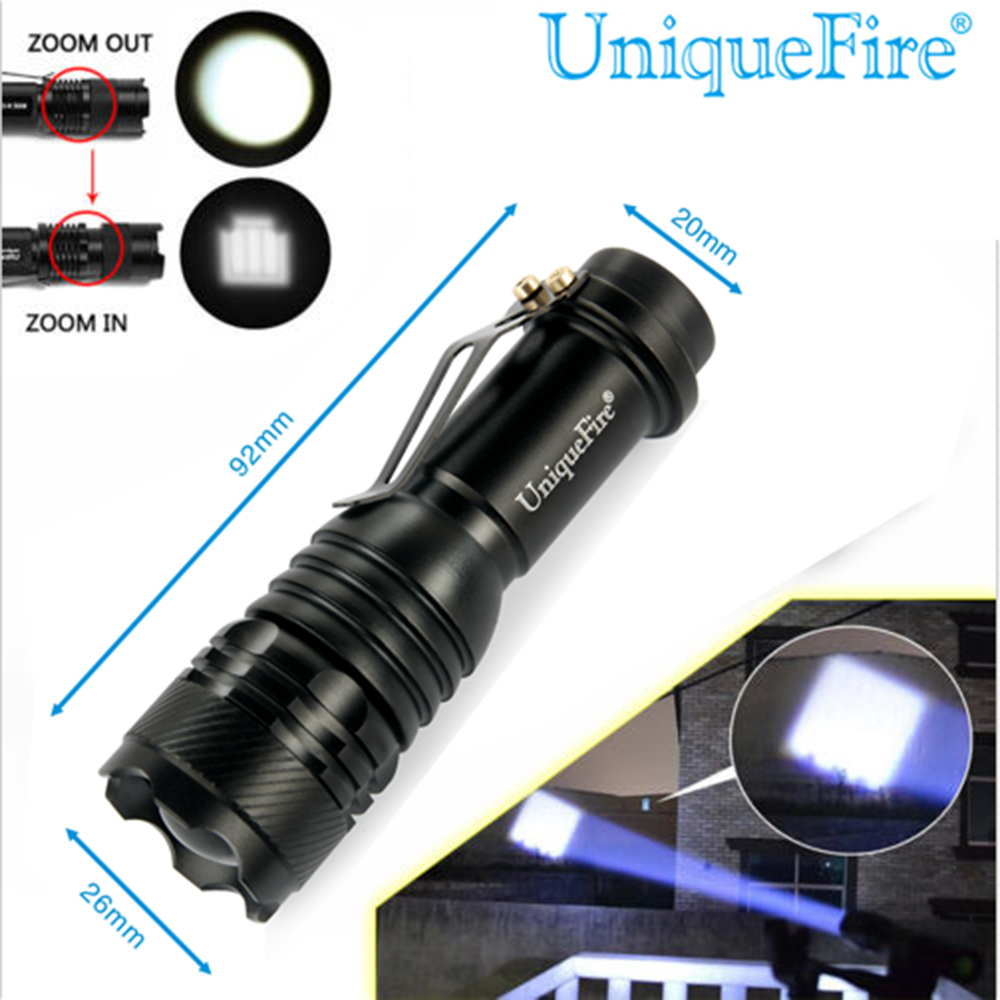 New Arrival!UniqueFire SK70 Zoomable 260LM Cree XPE LED Flashlight Torch 3 Modes 18650 AAA Zoom LED Flash Light For Camping