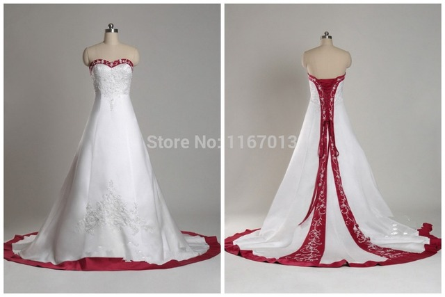 56dbc79b7 2015 Sexy Lace Appliques On Satin Wedding Dresses White Red Classic Court  Train Sweetheart Corset Back Strapless New Bridal Gown