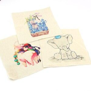 Image 4 - 20*20cm 6 pçs chegada puffer algodão tecido de lona zebra cão ouriço série retalhos pano diy decora quadro pintura pássaro d30