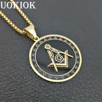 Hip Hop Stainless Steel Masonic Symbol Pendant Necklace For Men/Women Gold Color Mason Free Mason Necklaces Religious Jewlery