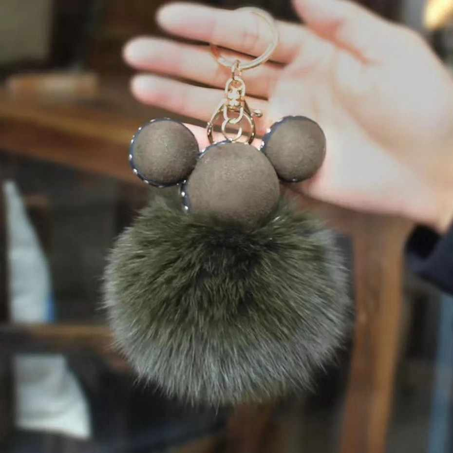 2018 Bonito Genuíno Real Mink Fur Plush Furry Fox Chaveiro Pompom Chave Animal Cadeia Mulheres Charme Saco Saco Acessórios pingente