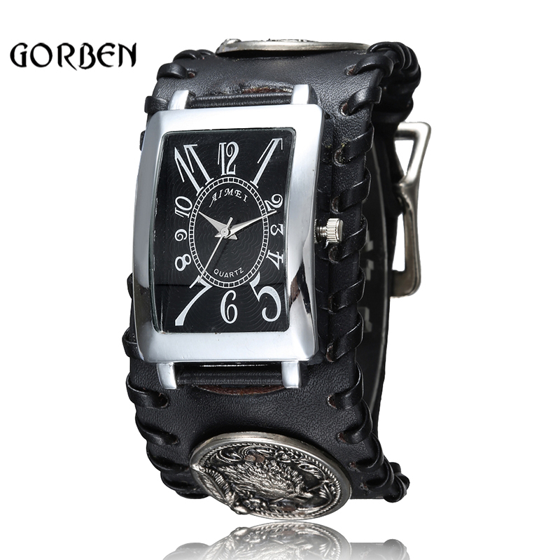 Retro Gothic Rock Style Punk Armbandsur Män Black Leather Wolf Armband Quartz Mens Watch Presenter Relogio Masculino