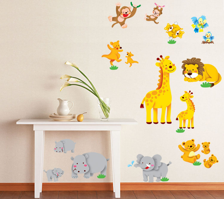 Cartoon animals home decal wall stickers for kids Cute Monkey giraffe koala elephant hippo bird kangaroo DIY sticker in Wall Stickers from Home Garden