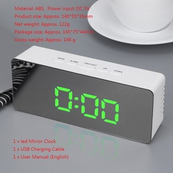 Digital Electronic Clock LED Table Clock Brightness Adjustable Alarm Clock Fashion Wall Hanging Clock with USB Cable