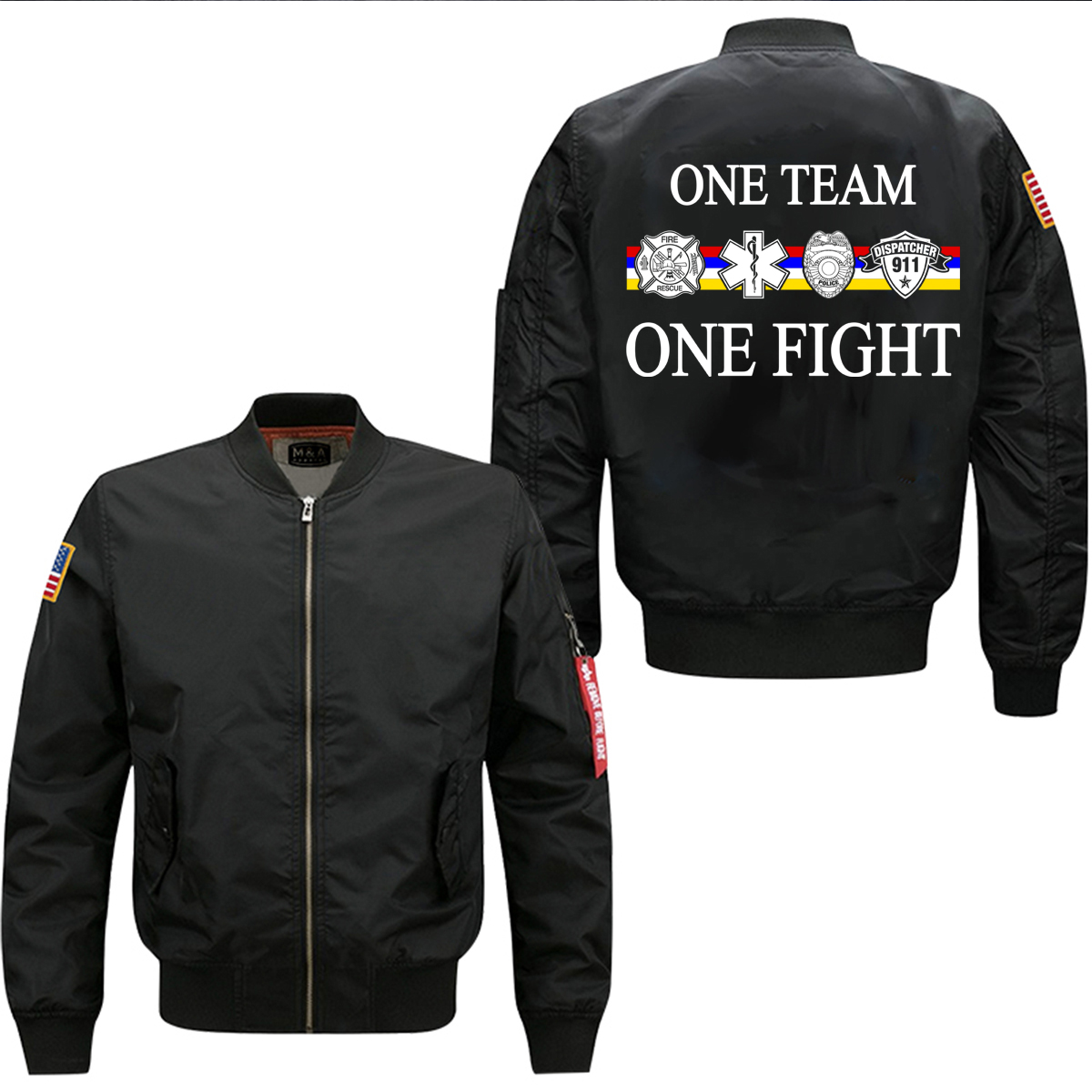 new ONE TEAM ONE FIGHT spring men's flight jacket  leisure collar code Air Force pilots mans windbreaker jacket,EU siz
