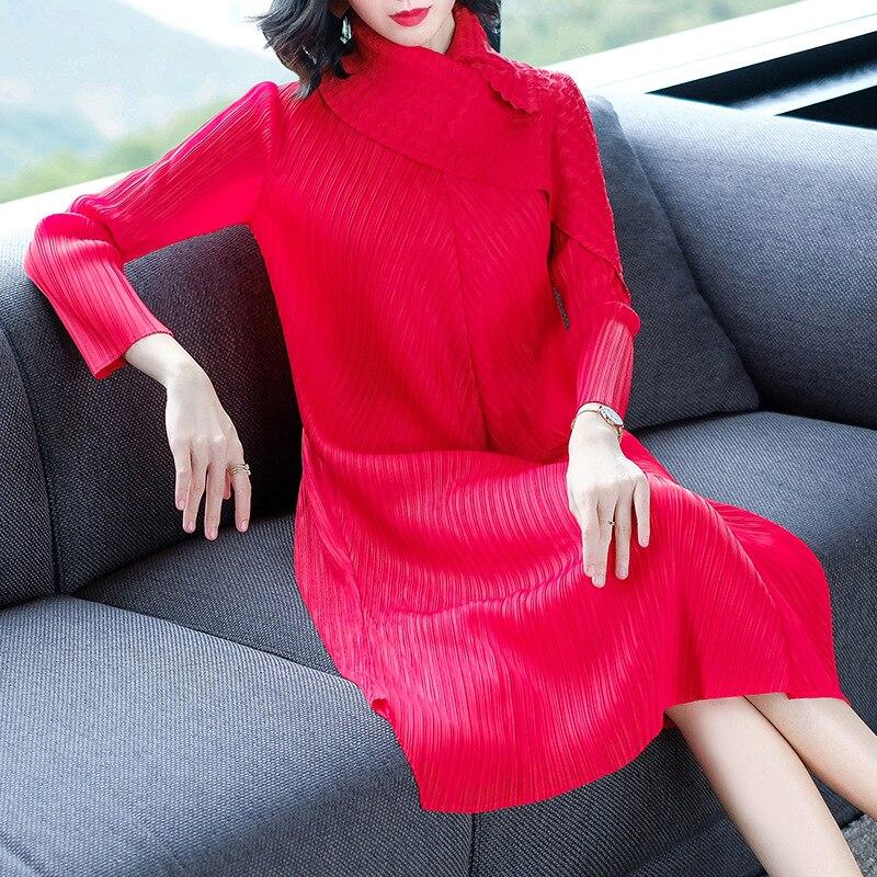 Décontracté wine Lâche Plissée Couleur Populaire red Femmes Robe Dame Nouveau Une Mode Grande Pièce Solide Taille Purple XwIazq