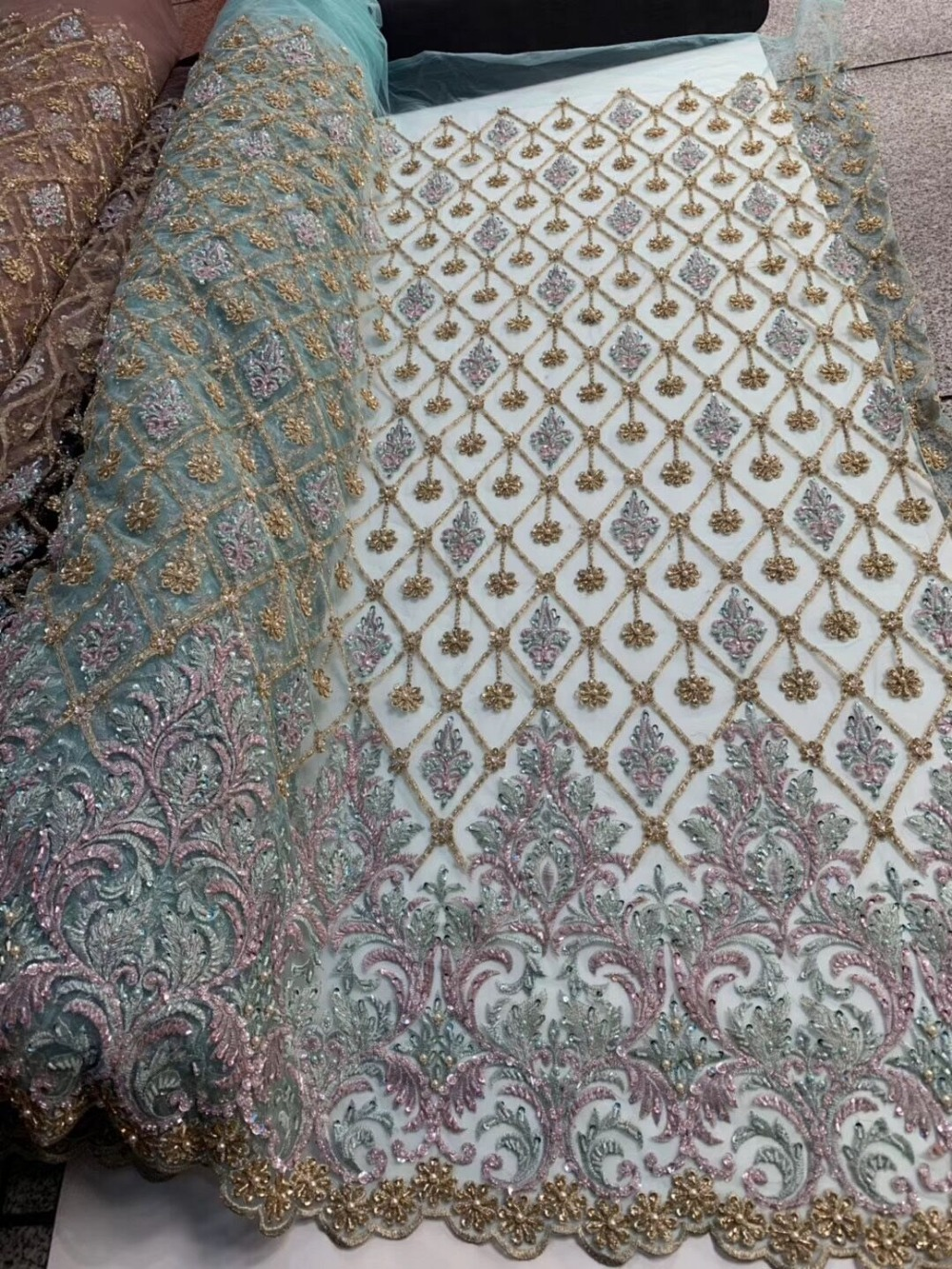 embroiderd lace fabric Sat 1 2001 with sequins beautiful Nigerian sequins lace fabric for party dress