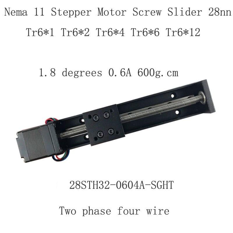 28BYG 28mm Screw rod slider platform NEMA11 Stepper Motor 0.6A 6N.cm 6mm shaft helical pitch-12 Tr6*12*200mm~300mm Screw slider28BYG 28mm Screw rod slider platform NEMA11 Stepper Motor 0.6A 6N.cm 6mm shaft helical pitch-12 Tr6*12*200mm~300mm Screw slider