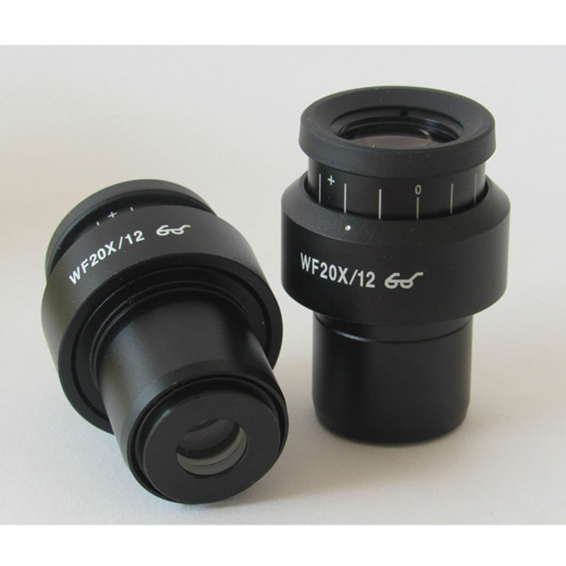 1PC High Eyepoint Wide View WF20X/12mm Diopter Adjustable Eyepiece  with Mounting size 30mm for Stereo Microscope 40x stereo microscope with 40x up right image small size 2x objective and wf20x eyepiece fixed monocular head