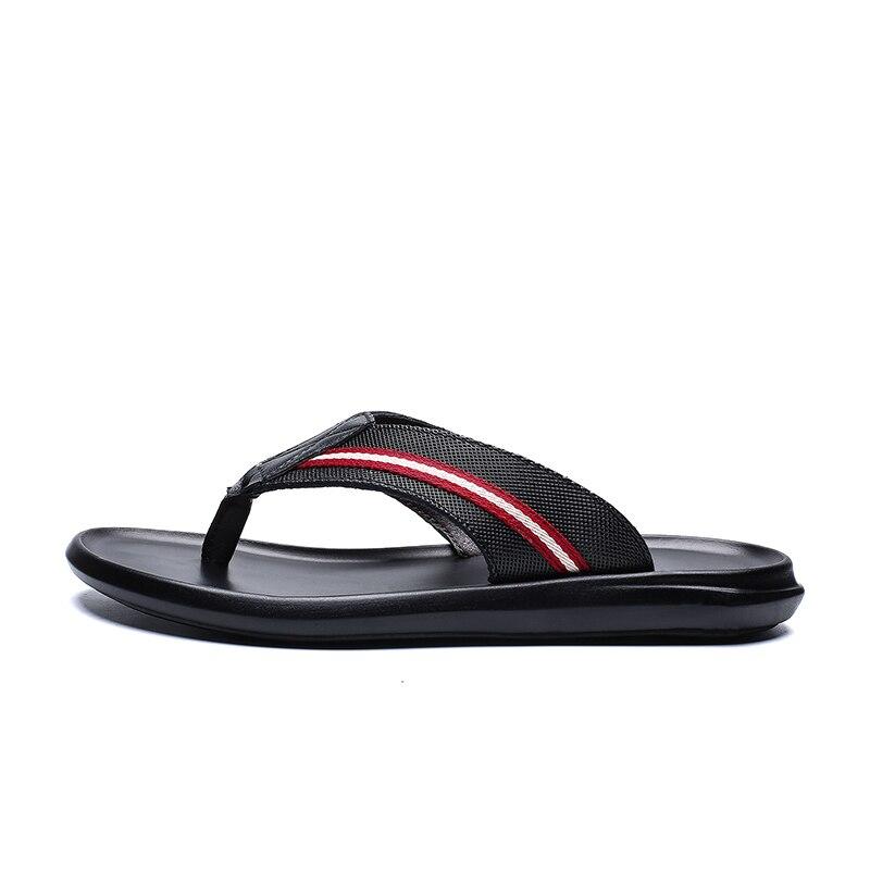 Mannen koe lederen slippers slippers buiten zwart mode Leisure mens schoenen Luxe Strand Flat Met Casual 2019 sandalen - 1
