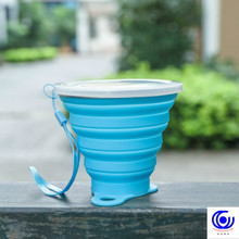 цена на 270ml portable folding creative travel telescopic kettle outdoor sport food grade silicone tour drinkware cup water bottle