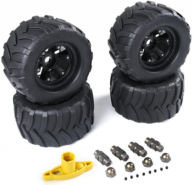 FG grandes roues et pneus avec adpters en alliage et clé de roue pour 1/5 FG (4 pièces/ensemble) taille: 220x100mm 86021-in Pièces et accessoires from Jeux et loisirs    1