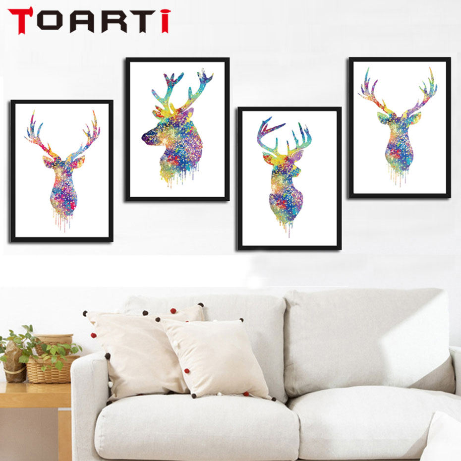 Morden Nordic Colorful Deer Head Silhouette Canvas Painting A4 No Framed Art Print Poster Animal Wall Picture For Living Room