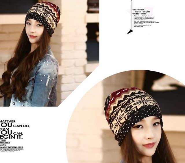 61e9a6490bd3 Online Shop New Arrival 3 way to Wear Women Skullies Knitted Scarf   Winter  Hats for Women Print Beanies Women Hip-hot Gorros Women Beanies