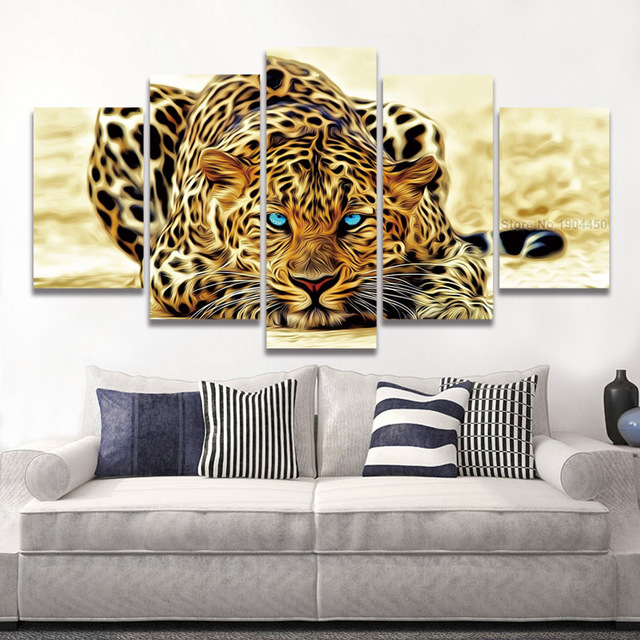 Framed Printed Modular picture Tiger leopard animal painting on ...