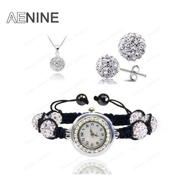 AENINE Watch Sets Necklace+Bracelet+Earrings Crystal Jewelry Watch Sets 10mm Mic