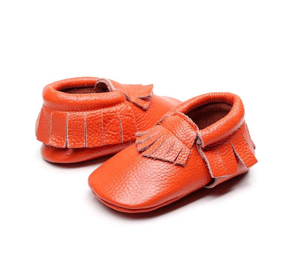 38 colors New Genuine Leather Baby Moccasins Bow Fringe Crib Soft Sole Baby Shoes First Walker Chaussure Bebe Newborn Shoes