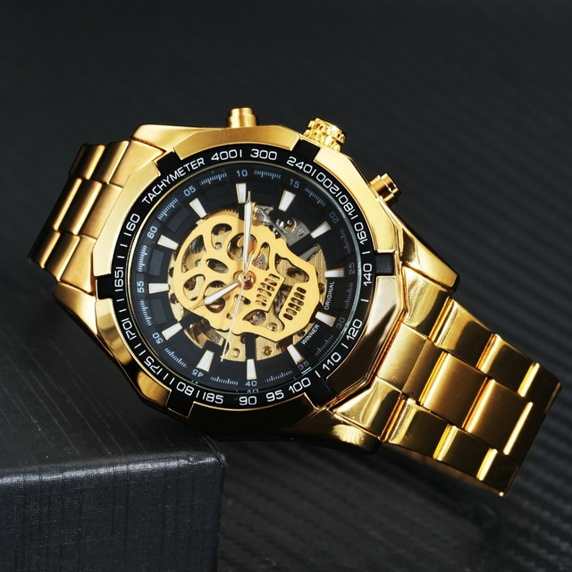 WINNER Classic Golden Skeleton Mechanical Watch Men Stainless Steel Strap Watches Top Brand Luxury Vip Drop Shipping Wholesale 3