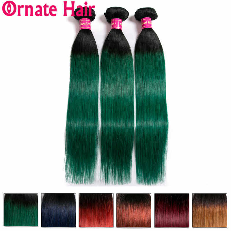 Ombre Peruvian Hair Bundle 100% Human Hair Extension Straight Hair Bundle Colored 1b/99J/Burgundy/27/Red/Blue Ornate Hair Bundle