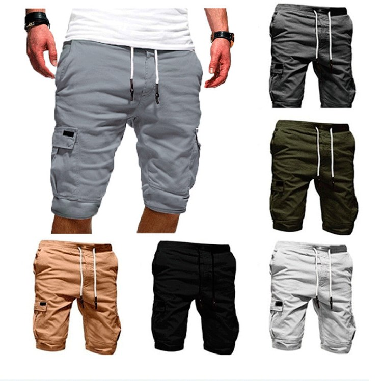 Men Pure Color Bandage Casual Loose Sweatpants Drawstring Short Pant Men's Multi-pocket Sport Brand Clothing Comfortable Shorts(China)