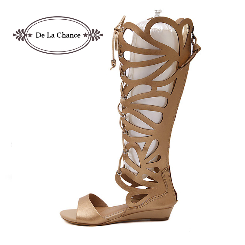 Sexy Women Party Gladiator Sandals Rome PU Leather Buckle Strappy Cage Knee High Boots Summer Shoes Open Toe Flat Sandals 2017 hot shoes women knee high gladiator sandals hollow jacket size 35 40 summer open toe black white flat sandals women