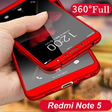 360 Degree Full Case Xiaomi Redmi Note 5 Pro Note 5 Note 5A Front Glass Back Cover Matte Case Xiaomi Redmi Note 5 / Redmi S2 A2(China)