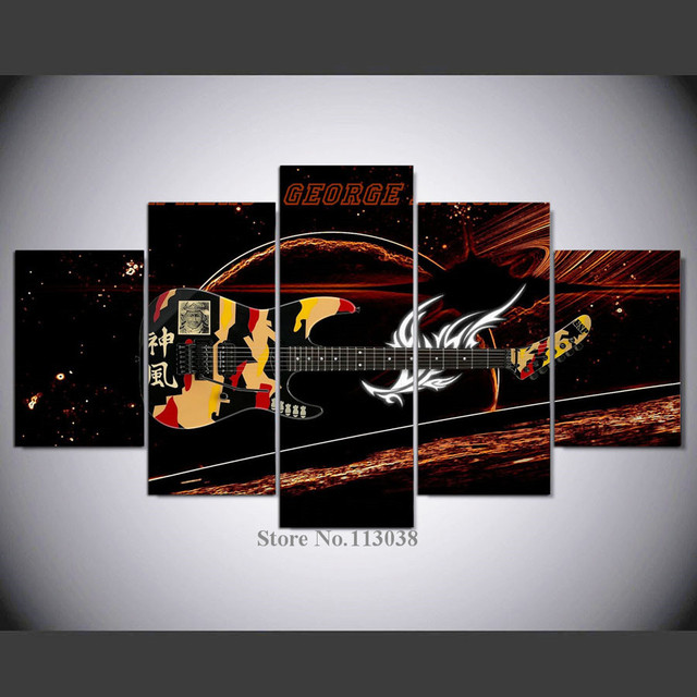 5 Pieces Art Fantastic Guitar Music Instrument Printed Canvas Painting  Living Room Wall Art Pictures Poster