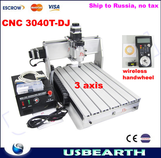 CNC engraving machine 3040T-DJ,CNC milling/drilling/carving machine, CNC 3040 with wireless handwheel, Ship to Russia. NO TAX!! cnc router engraving machine diy 2520 4axis engraving drilling and milling machine with rotary axis no tax to ru