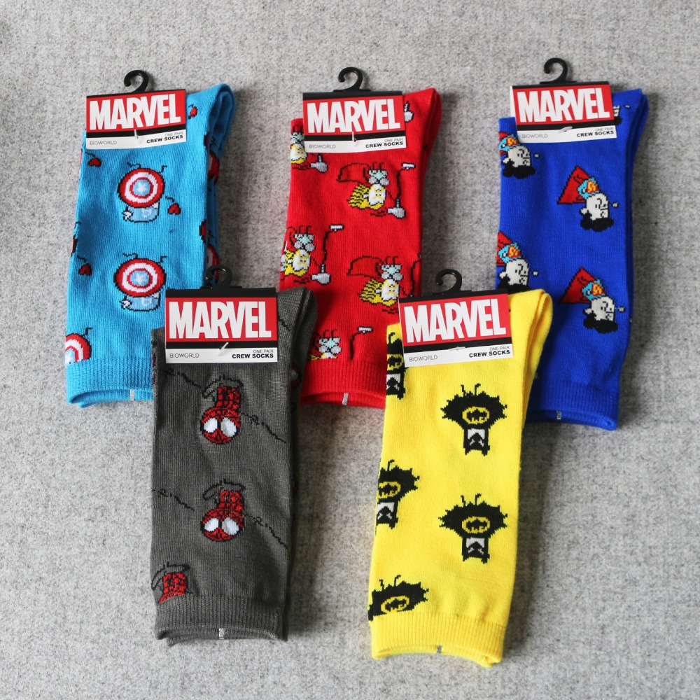 Socks Marvel Comics Captain-America General Antiskid Warm Knee-High Hero Man Casual Stitching-Pattern