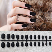 24pcs/set black full cover matte false nails short round head Soft Pure color oval Frosted Fake nails Artificial Nails Art Tips(China)