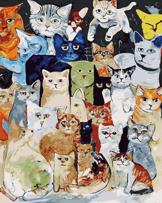 Frameless diy paintings by numbers cat paint by number for home decor  PBN for living room 4050 all kitty