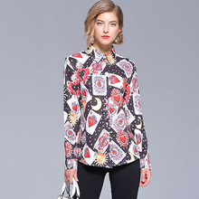 New arrival long sleeve card print  Shirts Tops Chic OL elegant blouses D144