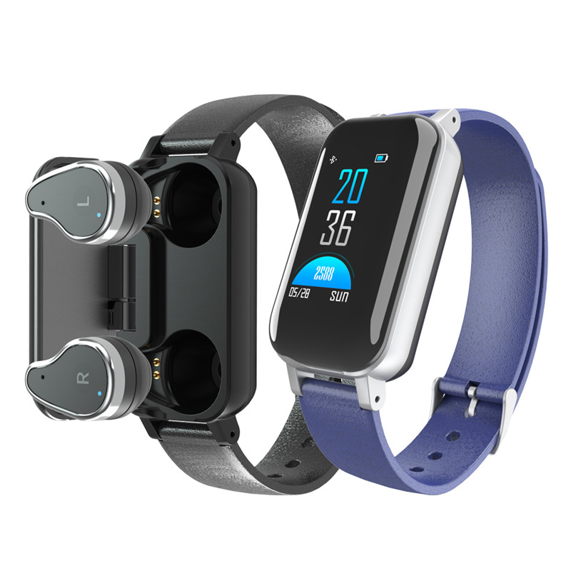 New <font><b>T89</b></font> <font><b>TWS</b></font> Smart Binaural Bluetooth Headphone Fitness Bracelet Heart Rate Monitor Smart Wristband Smartwatch Men Gifts image
