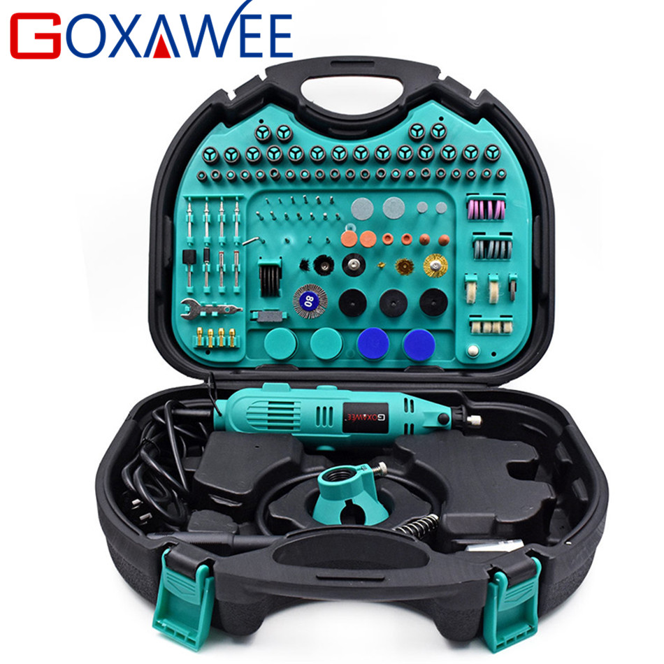 GOXAWEE 130W Dremel Style Variable Speed Electric Rotary Tool Electric Mini Drill Grinder with Accessories Power